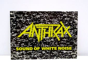 Anthrax Sticker Postcard 1993 Vintage Sound of White Noise Band Card with Sticker Thrash Speed Metal Heavy Metal Rock 1990s Mohawk Music
