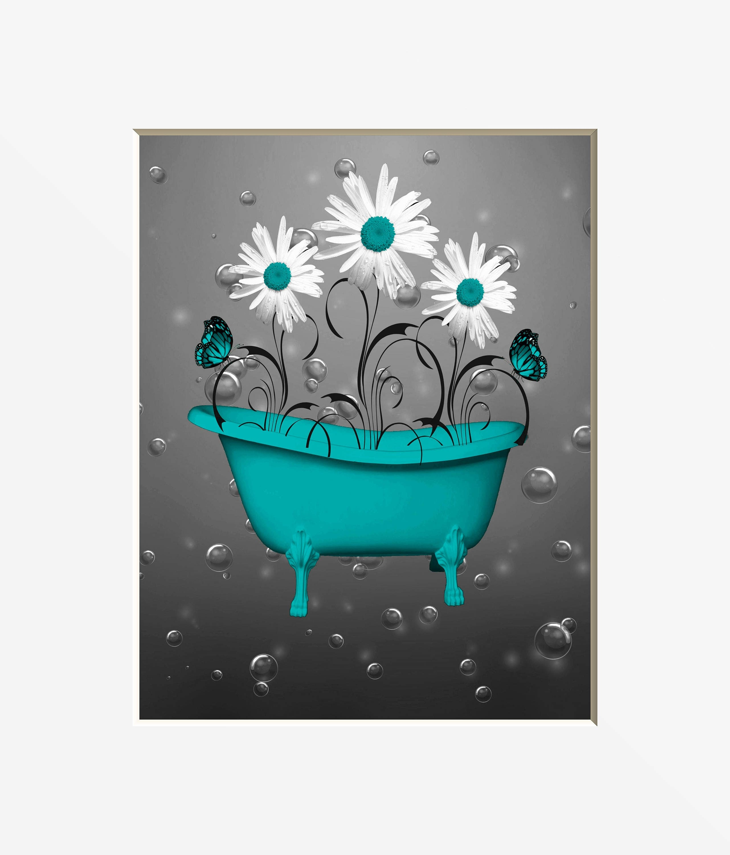 Teal gray wall pictures teal bathroom decor teal daisy for Teal and grey bathroom sets