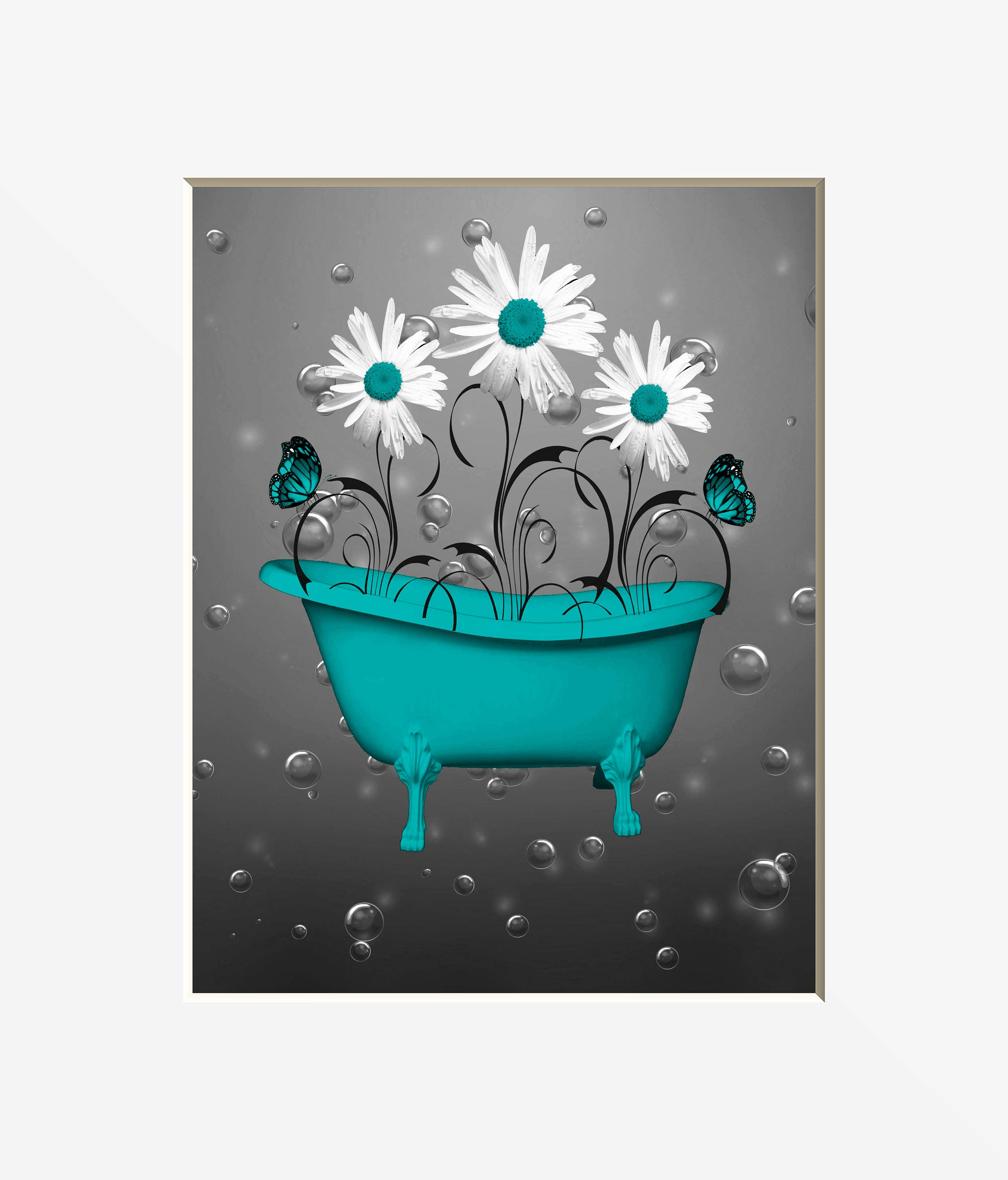 Teal Gray Wall Pictures Teal Bathroom Decor Teal Daisy
