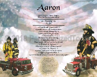 Firemen Name Meaning Origin Print Name Personalized Certificate 8.5 x 11 Inches Customized With Any Name
