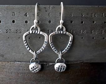 Industrial Sterling Drop Earrings , Geometric Silver Earrings , Hand Stamped Jewelry