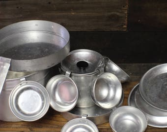 Vintage Aluminum Cookware Set, Self Contained Camping Set
