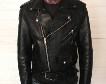 Leather motorcycle jacket mens xsmall
