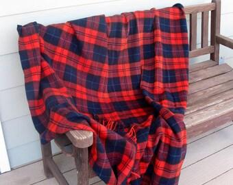 Vintage PENDLETON 100% virgin wool blanket- Portland Oregon -red /navy plaid -stadium blanket -picnic blanket- car blanket -fringed throw
