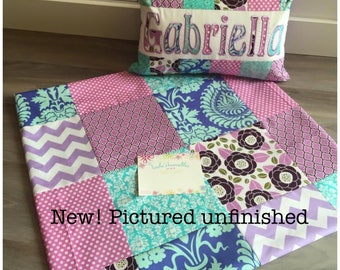 New! Purple and Teal floral Quilt and Pillow Set, Aviary Joel Dewberry fabric