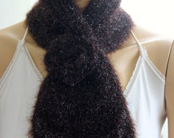 brown rose lace scarf,rose crochet tie cowl scarf shawl, ivory winter cowl, crochet scarf, crochet cowl, brown crochet cowl