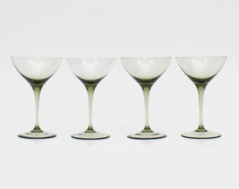 Mid Century Smoky Glass Margarita Glasses - Set of 4 Vintage 1950s Cocktail Glass Stemware