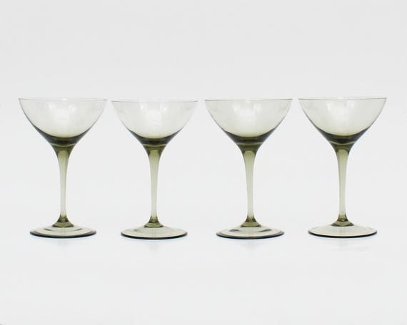 Vintage 1950s Mid Century Smoky Cocktail Glasses - Set of 4