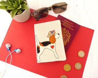 Beagle passport cover - Beagle gift - embroidered fabric passport holder - gift for her - Travel Accessories - Beagle lover gift - Dog Mum
