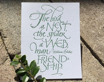 Friendship Calligraphic Greeting Card (Letterpressed)