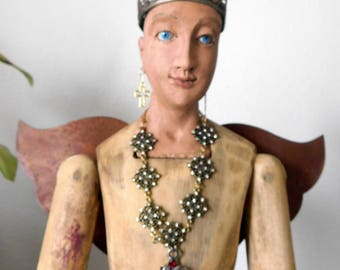 OOAK Hand Carved Solid Wood Santos Cage Doll// with Glass Eyes/Crown/Rusty Wings