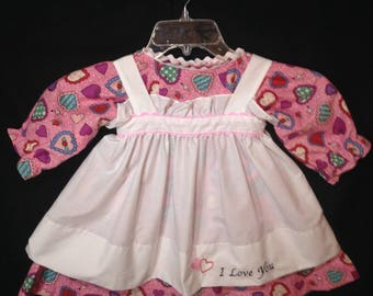 Dress and Apron for 30 inch Raggedy Ann Doll, Pink Dress with multicolored hearts, Embroidered Apron, Doll clothes