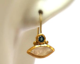 Moonstone Earrings - Gold Earrings - 24 K Solid Gold Earrings - Earrings - Blue Topaz Earrings - weddings earrings - Free Shipping!
