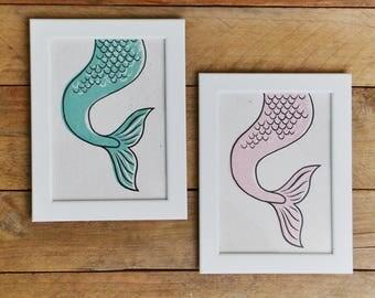Mermaid Tail Art Print - Mermaid Print on Handmade Paper - Mermaid Print - Watercolor Art Print