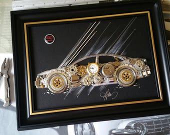 Audi model Code M 174, Men decoration, Vintage clocks, Gold watches, Tshirt design, Original artworks, Handmade art, Christmas decoration