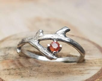 Twig ring sterling silver twig ring orange sapphire ring tree branch ring unique sterling silver ring sapphire ring engagement wedding