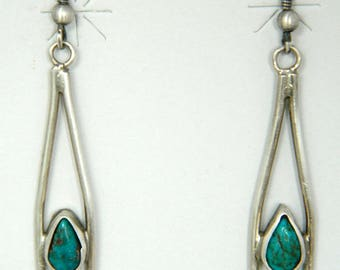 Dead Pawn Navajo Turquoise Sterling Silver Handmade Native American Earrings 1970