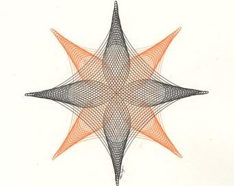 Orange Abstract Artwork, Orange Wall Art, Geometric Art, Modern Line Drawing, Original Art, Modern Office Art, Original Artwork 11x14