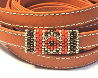 SALE: Versatile Handmade Beaded Tube, 2 Designs on one tube, Orange, Copper, and Silver,  10mm Flat Leather finding round cords jewelry