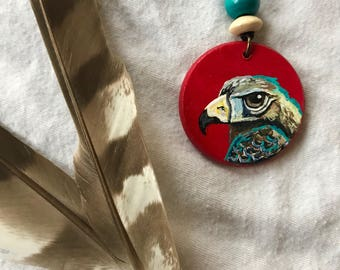 Cooper's Hawk painted necklace