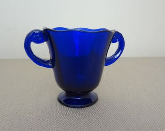 Vintage Cobalt Blue Glass Sugar Bowl with 2 Handles