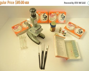 On Sale Vintage Tasco Deluxe Microscope with Prepared Slides.