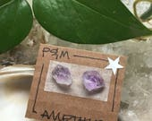 Amethyst Crystal Stud Earrings - Sterling Silver Post - Rough, Raw Stone -  Natural, Mineral Beauty