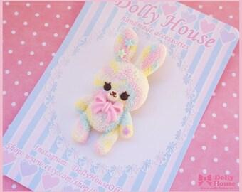 Kawaii Marshmallow Bunny Brooch by Dolly House