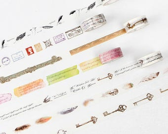 Retro Postmark Rococo Feather Quill pen Poetry Washi tape-15mmX7M