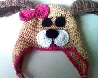 Crochet puppy hat, puppy hat with bow, puppy dog hat, puppy hat baby, infant photo prop, puppy photo prop, girl puppy hat, baby puppy hat