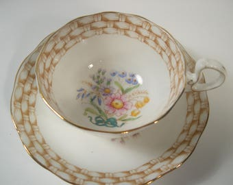 Antique Royal Albert Tea Cup and Saucer, Hand Painted Flowers, Basket Weave tea cup and saucer set.