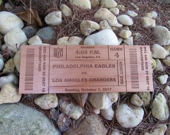 Custom Wood Football Ticket