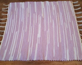 Lavender and White Rag Rug