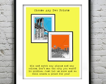2 Pack Art Print Posters Your Choice of any Prints, Colors, Size