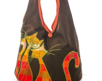 Painted orange brown cat shoulder bag, autumn
