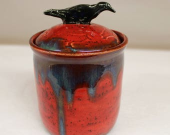 Elemental Red Fire Crow Jar with Lake County Diamond Crow Eyes