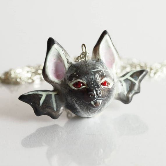 FULL MOON BABY, Bat - Handmade Polymer Clay Sculpture