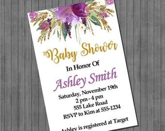 FLASH SALE Floral Watercolor Baby Shower Invitations