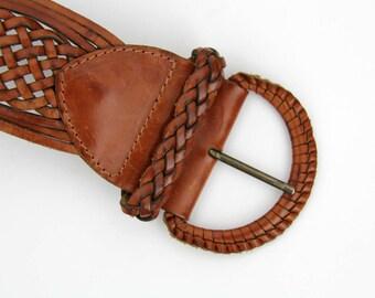 Vintage belt // leather woven belt