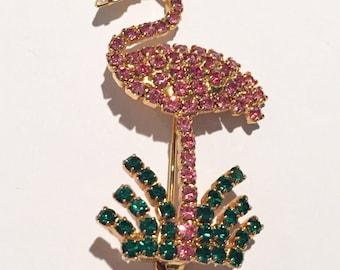 Pink Flamingo Bird Brooch, Rhinestone, 1960s Vintage Jewelry SALE