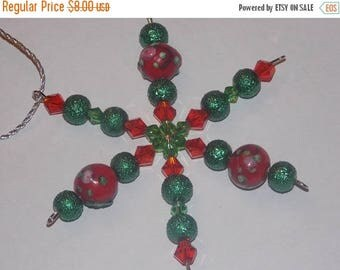 15%OFF Red Lampwork Red Bicone Green Textured Glass Pearl Christmas Snowflake Star Ornament