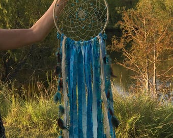 "Over 125 CT Genuine Turquoise 10"" x 30"" Dream Catcher Shabby, Boho Large!"