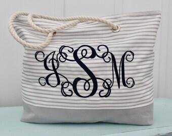 Personalized Ticking Tote Bag - Monogragrammed Beach Bag - Bridesmaid Gift  - Teacher Bag - Ticking Bag - Market Bag - Wedding Party Gift