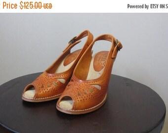 ON SALE 1970s cognac leather peep toe wedge sandals | 70's Boho Hippie