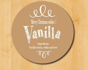 Food Gift Labels | Vanilla Labels | Hostess Gift Labels | Holiday Gift Labels | Christmas Gift Labels | Vanilla Sticker | Vanilla Recipe