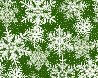 Winter Twist, Snowflake on Green, by In The Beginning, shabby chic, Christmas Fabric, Fabric by the Yard, Holiday fabric, quilters cotton