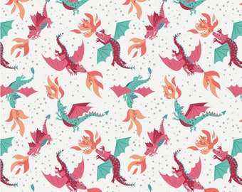 Flying Dragons on Cream, Lewis & Irene, Halloween Fabric, Fabric by the Yard, Boy Fabric, Holiday, quilters cotton, eye fabric