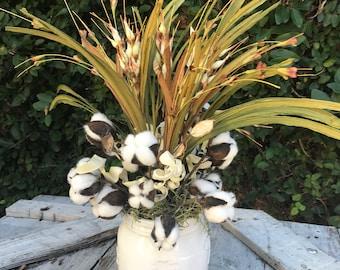 Cotton Floral Arrangment,Fixer upper style, Floral arrangement fall,Cotton Arrangemnet,Magnolia market decor,Farmhouse decor, Rustic decor