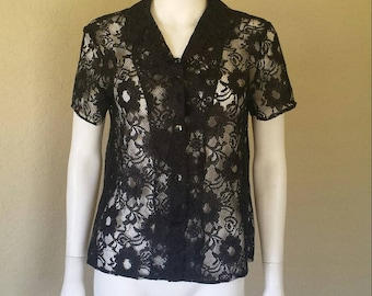"""Sheer black lace button down blouse Size 10 , fits like large- xl 42"""" bust"""