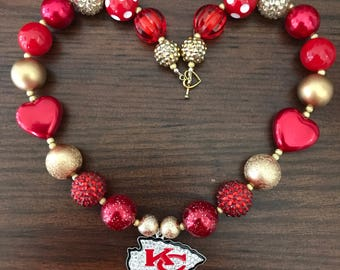 Kansas City Chiefs Football NFL inspired Chunky Bubble Gum Necklace (Adult/Teen)